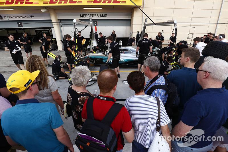 Fans outside Mercedes AMG garage