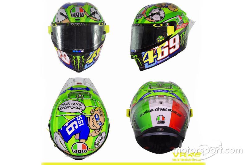 Valentino Rossi, Yamaha Factory Racing, neues Helmdesign