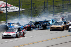 Crash: Daniel Suarez, Joe Gibbs Racing, Toyota; Brennan Poole, Chip Ganassi Racing, Chevrolet; Matt Tifft, Joe Gibbs Racing, Toyota