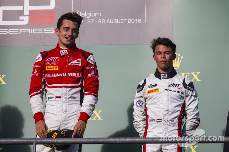 Podium: winner Charles Leclerc, ART Grand Prix, third place Nyck De Vries, ART Grand Prix
