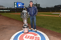 Baseball Hall of Famer Ryne Sandberg with the Borg-Warner Trophy at Wrigley Field