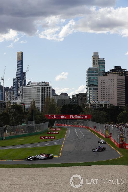 Marcus Ericsson, Sauber C37 Ferrari, Pierre Gasly, Toro Rosso STR13 Honda, and Charles Leclerc, Sauber C37 Ferrari