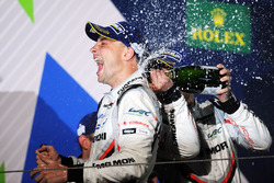 Podium: second place Earl Bamber, Porsche Team celebrates wit champagne
