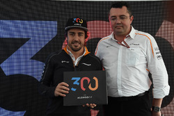 Fernando Alonso, McLaren celebrates his 300th GP with Eric Boullier, McLaren Racing Director