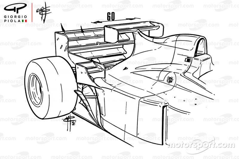 Jordan 196 con ala extra en el GP de Mónaco 1986
