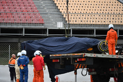 The car of Max Verstappen, Red Bull Racing RB14 is recovered from the gravel
