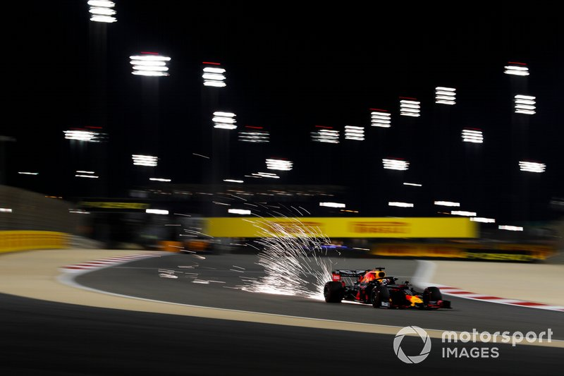 Sparks fly from the car of Max Verstappen, Red Bull Racing RB15