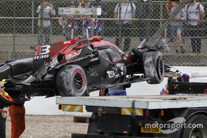 The car of #1 Rebellion Racing Rebellion R-13: Andre Lotterer, Neel Jani, Bruno Senna after the crash
