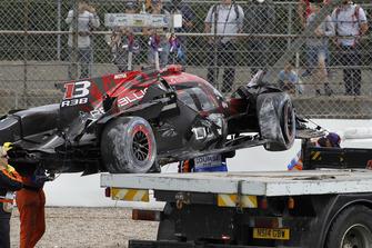 Crash van Bruno Senna, #1 Rebellion Racing Rebellion R-13