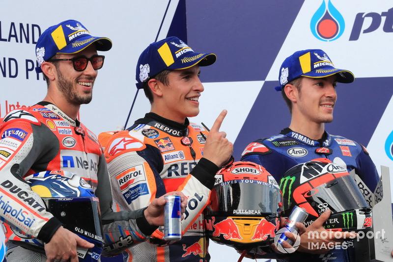 Podio: Andrea Dovizioso, Ducati Team, Marc Marquez, Repsol Honda Team, Maverick Viñales, Yamaha Factory Racing