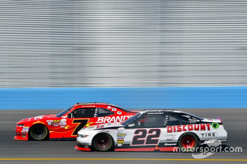 Justin Allgaier, JR Motorsports Chevrolet and Ryan Blaney, Team Penske Ford