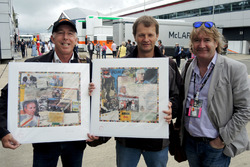 Keith Sutton, Sutton Images CEO and Mark Dickens, Artist present Michael Schmidt, Journalist with his World Champions in Art print