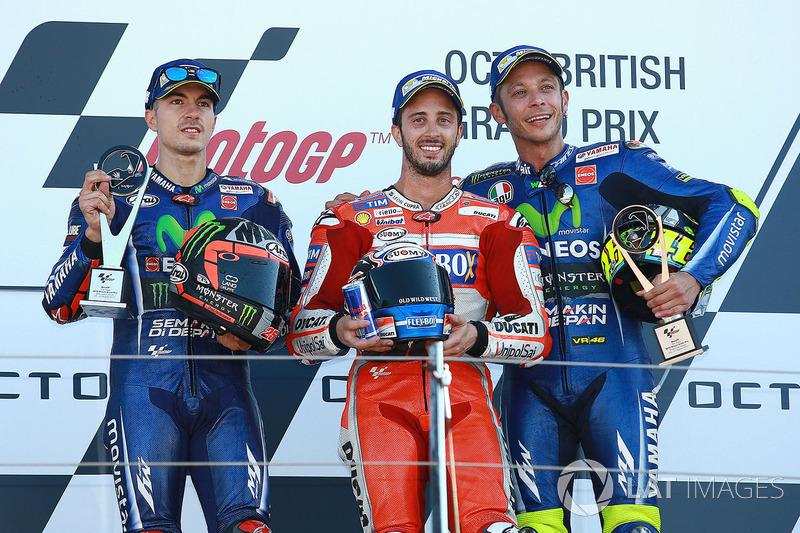 2017: 1. Andrea Dovizioso, 2. Maverick Viñales, 3. Valentino Rossi