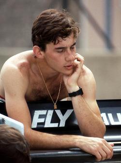 Ayrton Senna, refleja en su primera prueba de F1 en el Williams FW08C