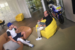 Valentino Rossi is interviewed by Guido Meda
