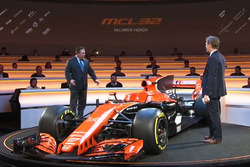 The McLaren MCL32 and Zak Brown, McLaren Executive Director
