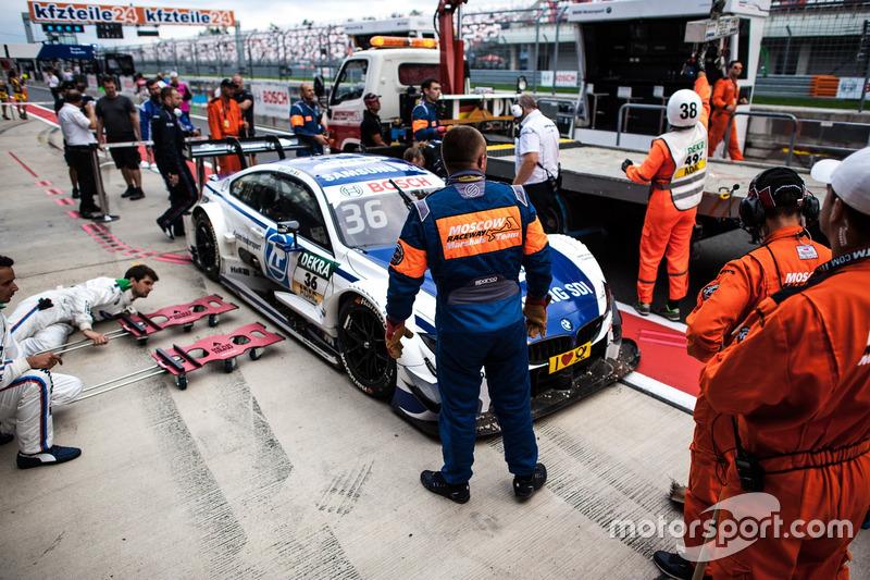 L'auto di Maxime Martin, BMW Team RBM, BMW M4 DTM dopo l'incidente