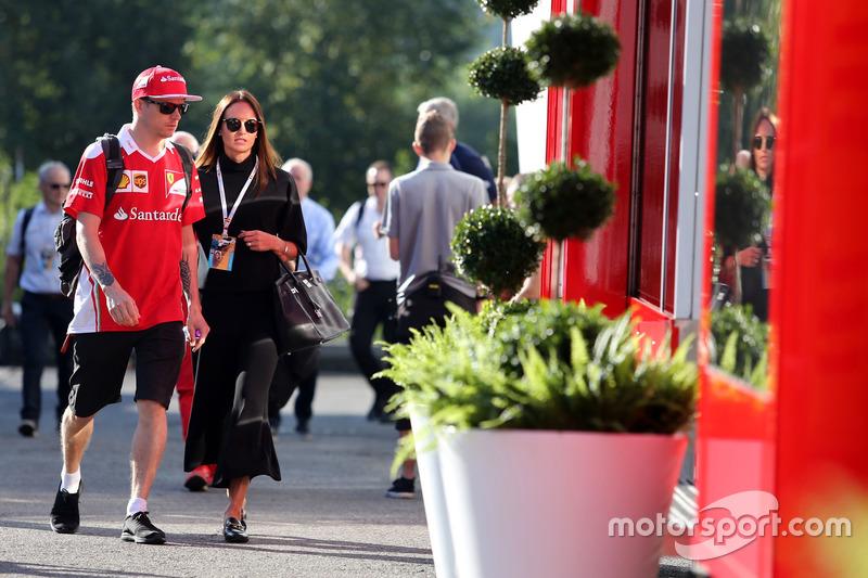 Kimi Raikkonen, Scuderia Ferrari and his wife Minttu