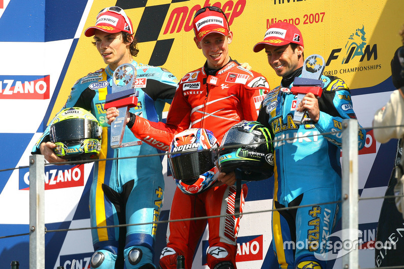 2007: 1. Casey Stoner, 2. Chris Vermeulen, 3. John Hopkins