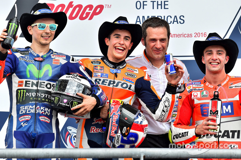 1. Marc Marquez, 2. Jorge Lorenzo, 3. Andrea Iannone