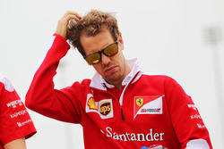 Sebastian Vettel, Ferrari walks the circuit