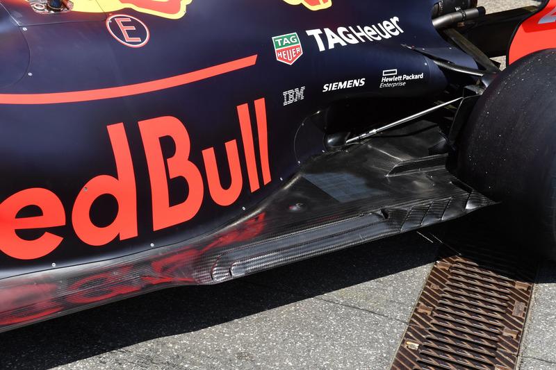 Detalle del fondo plano del Red Bull Racing RB14