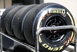 Pirelli tyres in a rack