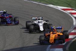 Stoffel Vandoorne, McLaren MCL33 Renault, Lance Stroll, Williams FW41 Mercedes, and Pierre Gasly, Toro Rosso STR13 Honda
