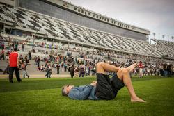 A fan enjoy the Speedway