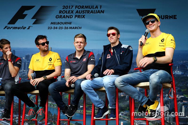 Romain Grosjean, Haas F1 Team; Jolyon Palmer, Renault Sport F1 Team; Kevin Magnussen, Haas F1 Team; Daniil Kvyat, Scuderia Toro Rosso; Nico Hülkenberg, Renault Sport F1 Team