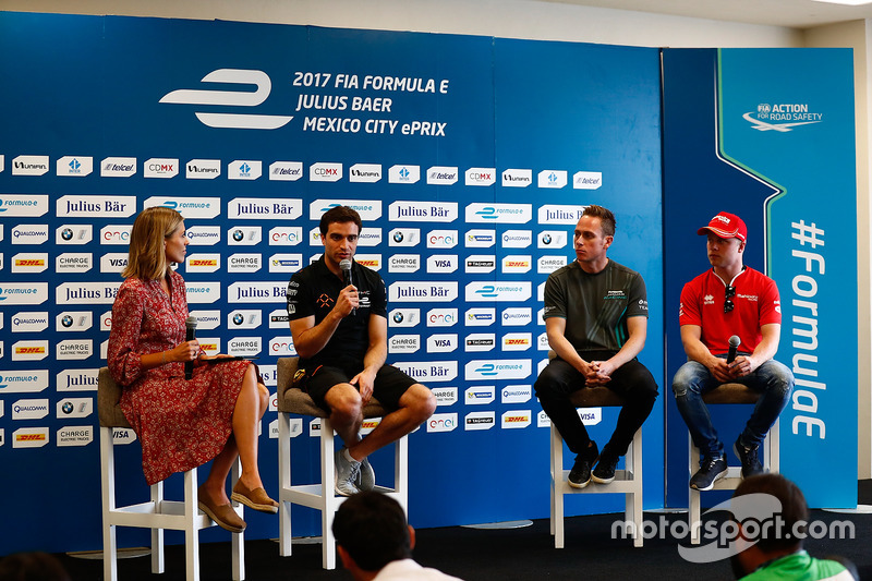 Nicki Shields, Jérôme d'Ambrosio, Dragon Racing, Adam Carroll, Jaguar Racing, and Felix Rosenqvist, Mahindra Racing, in the press conference