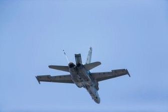 An F/A-18A Hornet of 77 Squadron RAAF displays for the crowds