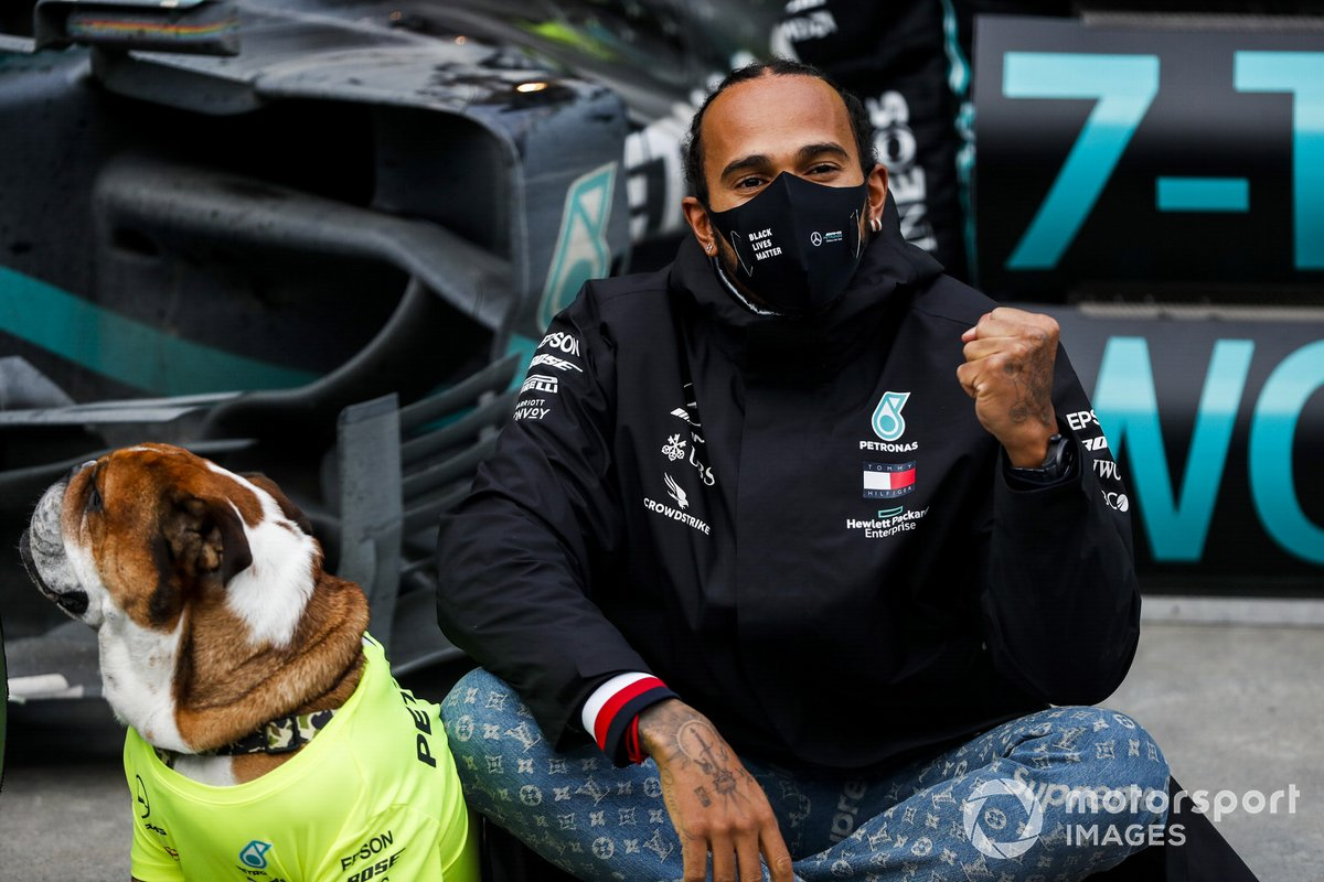 Lewis Hamilton, Mercedes-AMG F1, 1st position, his dog Roscoe, and the Mercedes team celebrate championship victory