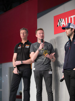 BTCC Champions Matt Neal, Gordon Shedden and Andrew Jordan on the Autosport Stage with Henry Hope-Frost