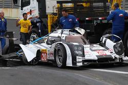 The crashed Porsche 919 Hybrid of Mark Webber