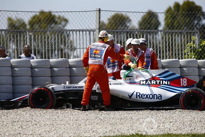 Lance Stroll, Williams FW41, dibantu marshal pascamelebar