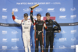 Trophy Podium: Winner Rob Huff, All-Inkl Motorsport, Citroën C-Elysée WTCC, second place Tom Chilton, Sébastien Loeb Racing, Citroën C-Elysée WTCC, third place Kris Richard, Campos Racing, Chevrolet RML Cruze TC1