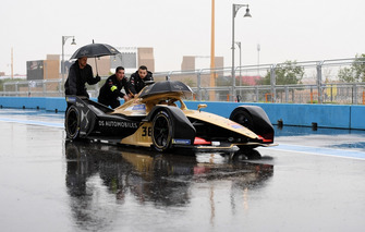 The car of Andre Lotterer, DS Techeetah is pushed down the pitlane
