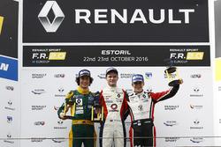 Podium Rookie: race winner Will Palmer, R-ace GP; second place Hugo De Sadeleer, Tech 1 Racing; third place Sacha Fenestraz, Tech 1 Racing