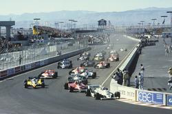 Start action, Alan Jones, Williams FW07C-Ford Cosworth leads