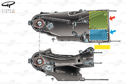 Ferrari F14T gearbox (top) in comparison with F138 (below) blue box indicates location of MGUK and g