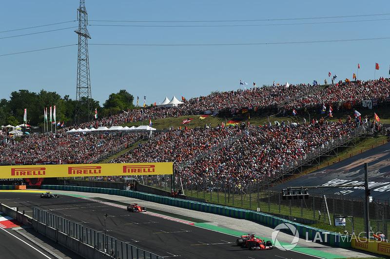 Sebastian Vettel, Ferrari SF70-H leads Kimi Raikkonen, Ferrari SF70-H