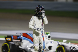 Lance Stroll, Williams, walks away from his car after a collision with Carlos Sainz Jr., Scuderia Toro Rosso