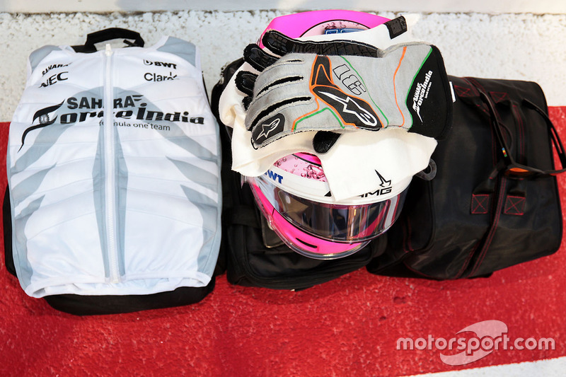 The helmet and kit for Esteban Ocon, Force India