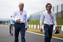 Laurent Mekies, FIA Safety Director and Charlie Whiting, FIA Delegate walk the track