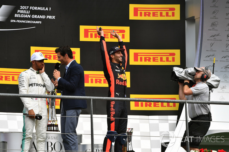 Lewis Hamilton, Mercedes AMG F1, Mark Webber, Daniel Ricciardo, Red Bull Racing celebrate on the podium