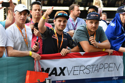 Max Verstappen, Red Bull Racing fans and banner