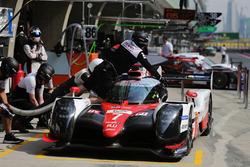 #7 Toyota Gazoo Racing Toyota TS050-Hybrid: Mike Conway, Kamui Kobayashi, Jose Maria Lopez in the pi