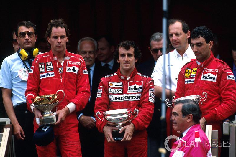 Прост выиграл ту гонку, но на его лице в княжеской ложе не было ликования. Бергер и Альборето принесли Ferrari двойной подиум. Все остальные отстали на круг.