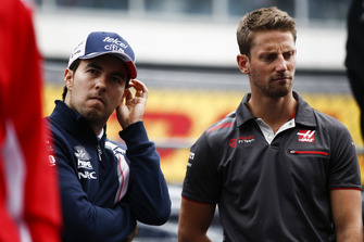 Sergio Perez, Racing Point Force India and Romain Grosjean, Haas F1 Team on the drivers parade Andy Hone
